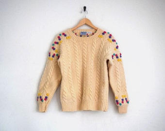 Cream Cable Knit Sweater | Bright Pom Pom Sweater | Cream Knit Jumper | Wool Knit Sweater | Handknit Sweater | 80s Sweater | XS S