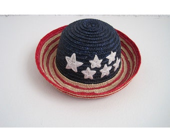 90s Hat. Red White & Blue Stars and Stripes Woven Hat. USA Hat. Hipster Kitschy Retro. Straw Hat. Unisex Vintage. Fourth of July. Uncle Sam