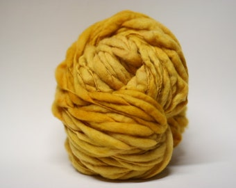 Thick and Thin Slub Handspun Merino Wool Yarn tts(tm)  Hand dyed Half-Pounder Super Bulky Mustard 01