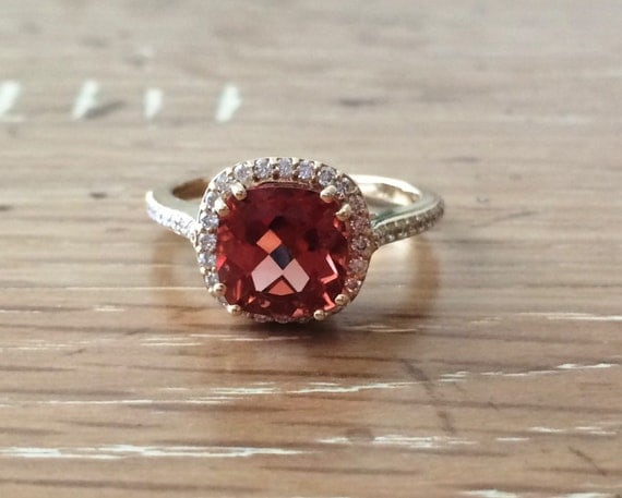 Colored Stone Engagement Ring Halo Engagement Ring By