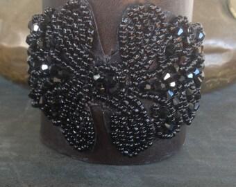 Distressed Leather Corset Cuff Bracelet