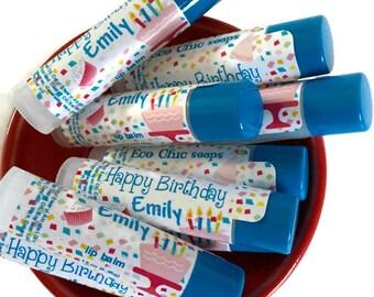 NEW - HAPPY BIRTHDAY personalized Lip Balm - Cotton Candy Happy Birthday Lip Balms -Birthday Gift for Kids -Birthday Lip Balms Favors
