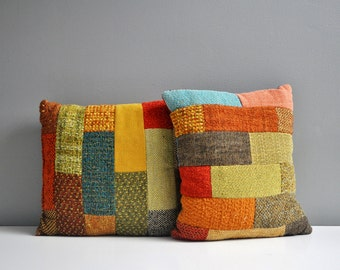 Pair of Vintage Patchwork Throw Pillows