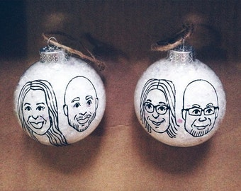 personalized caricature ornament - two hand drawn portraits - ONE (1) glass christmas ornament - snow globe