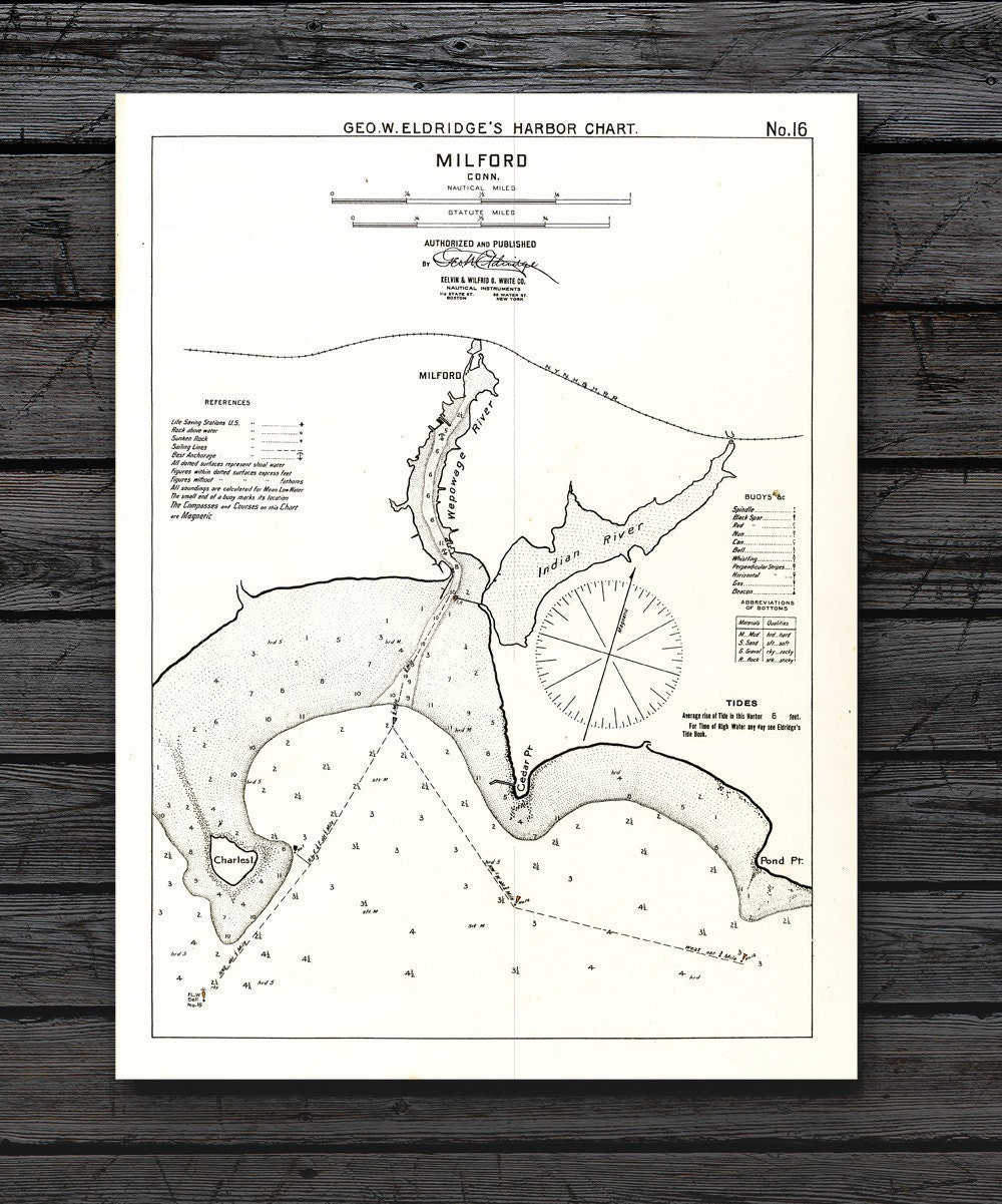 Antique print of a milford connecticut nautical chart on for 12x15 calculator