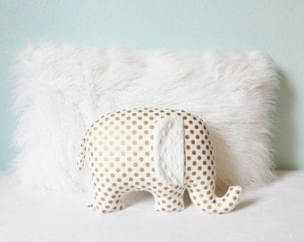 Metallic gold nursery decor, Elephant Pillow, metallic gold and white, gold and white, gender neutral baby