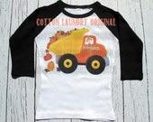 "Thanksgiving Truck  Dump Truck raglan ""Pumpkins Trucking Co"" Personalized baseball raglan tee shirt  Thanksgiving boys"