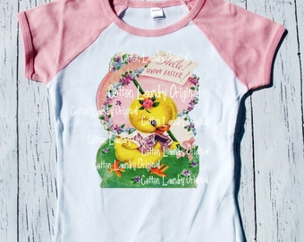 "Easter Day Girls Raglan Pink tee shirt ""Hello Happy Easter"" Little Chick Easter tee shirt short sleeve pink raglan"