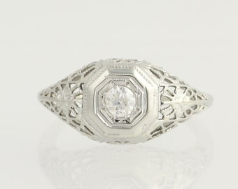 Art Deco Diamond Engagement Ring - 18k White Gold European Cut .18ct Unique Engagement Ring N624