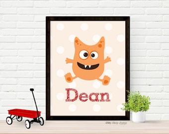 Personalized Monster Decor, Little Monster Art Print, Nursery Kids Wall Art Room Decor