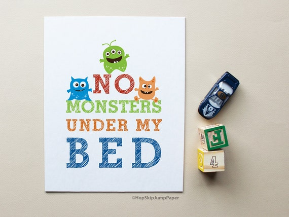 Nursery Decor, Kids Room Art, No Monsters Under My Bed, Custom Sizes and Colors, Choose Framed Art, Unframed Print, Canvas Print,