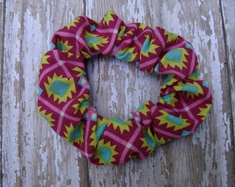 Funky Magenta Pink and Mint Green Aztec Print Hair Scrunchies Ponytail Holder