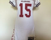 Alabama UAB Jersey Dress M College Football Crimson Tide White Maroon Upcycled Hipster Costume OOAK Corset Lace Bama Pride