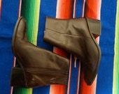 Vintage Dark Brown Leather Boots 8 8.5 Womens Pointy Brazil Zodiac Saloon Western Boho Hippie Gypsy Club Kid Grunge Hipster Festival Boot