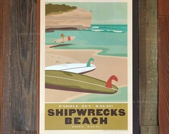 Poipu, Kauai, Shipwrecks Beach - 12 x 18 Retro Hawaii Travel Print