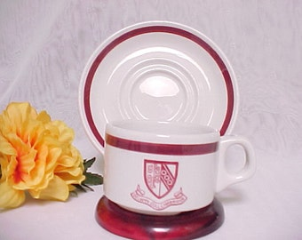Vintage Souvenir Demi Cup and Saucer, Selwyn College in Cambridge Espresso Cup and Saucer, Steelite International England. Restaurant Ware