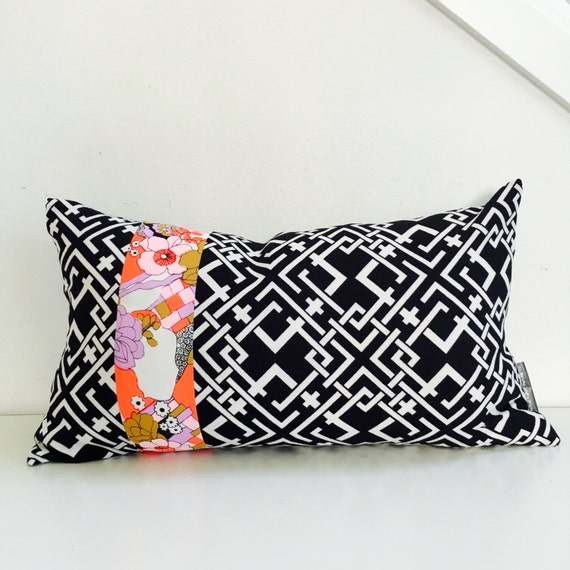 "Black and White Retro Pillow Cover 14""x24"" Lumbar Cushion Pillow Vintage Coral Pink Lavender Beige Floral Graphic Black White Lattice Patter"