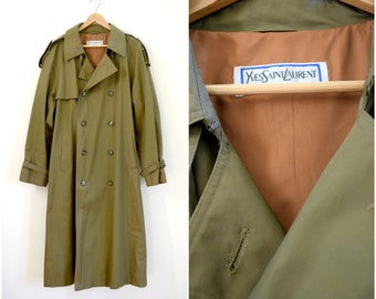 Vintage mens Yves Saint Laurent menswear taupe trench coat / designer double breasted coat