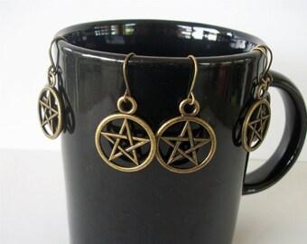 Bronze Pentacle Earrings Pentagram Fish Hook Antique Bronze Ear Wires Halloween, Wiccan