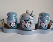 Lusterware Salt Pepper Condiment With Tray Set Vintage Blue Lustreware 1960's