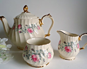 Sadler Teapot Cream Sugar Set Vintage Sadler England