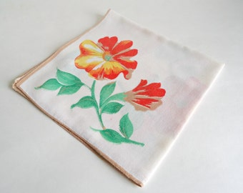 Handkerchief Hanky Hankie Vintage Hankys Hankies Antique Handkerchief Hankerchief  Floral Orange Poppy