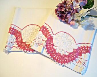 2 Vintage Pillowcase Crocheted Trim Pillowcases Rose & White 1950's