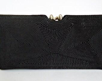 Vintage Black Cloth Clutch Purse Spiral Cording 1940's