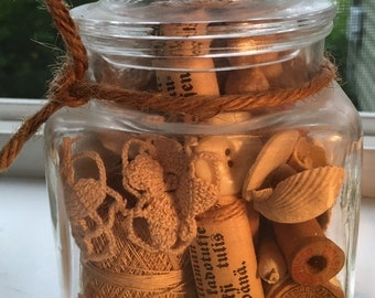 Vintage 60s sm apothecary candy jar filled with little treasures in shades of white tan wood spools shells buttons lace photos #3 of 4