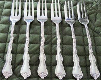 6 Vintage Silverplate NiLS-Johan Pastry Forks Sweden