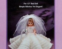 """20%OFF Fibre Fiber Craft BRIDAL GOWN 13"""" Bed Doll - Crochet Doll Dress Clothes Clothing Pattern"""