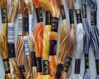 50% OFF Variety Lot Assorted Variegated Strandable Cotton Floss Thread ORANGE YELLOW Brown - For Cross Stitch Hardanger Needlepoint Needlewo