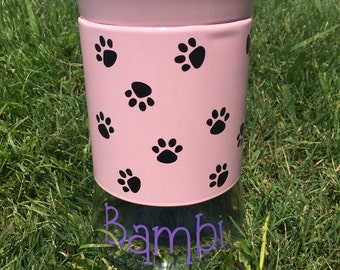 Personalized Dog Treat Canister / Treat Jar - Pink w/ Black Paws - 34 oz.