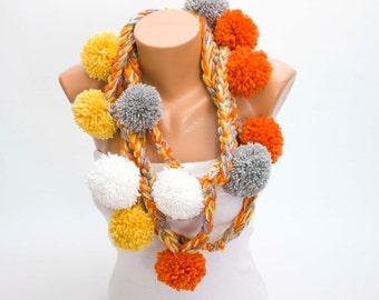 crochet lariat scarf ,long lariat scarf, pompom scarf