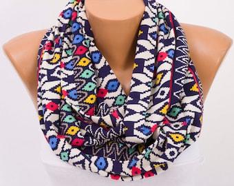 SALE Infinity scarf ,scarf ,infinity scarf ,loop scarf , geometrical print ,colorfull ,