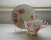 RESERVED - TEACUP, Vintage Bone China, Pink Floral Teacup