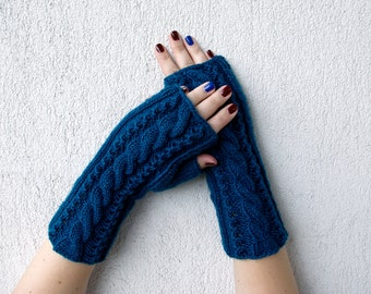 SALE Knit Fingerless Gloves Half Finger Gloves  Arm Warmers Fingerless Glove Mittens Hand-knitted Cabled Wrist Warmers in Petrol