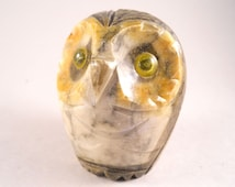 Alabaster Hand Carved Owl Paper Weight Desk Figurine Eyes  Beak Yellow Gray Brown