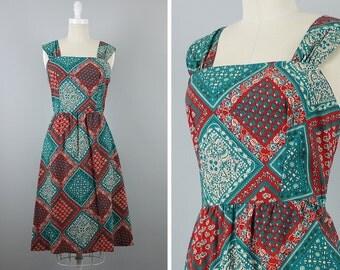 Vintage 70s Dress --> 1970s Dress --> Vintage 1970s Sundress --> 1970s Cotton Patchwork Dress --> Bohemian Vintage Dress -->1970  Boho Dress