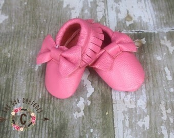 WOW! ROSE BOWS Moccasins 100% genuine leather baby moccasins Mocs moccs