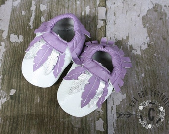 SALE WOW! Gypsy Plum!  100% genuine leather baby moccasins Mocs moccs top quality, first birthday,
