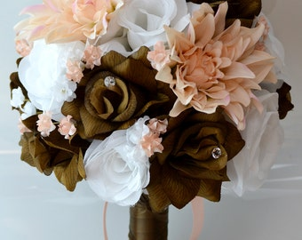 """17 Piece Package Wedding Bouquet Bride Silk Flowers Bridal Party Bouquets Decorations Chocolate BROWN PEACH WHITE """"Lily of Angeles"""" BRPI01"""