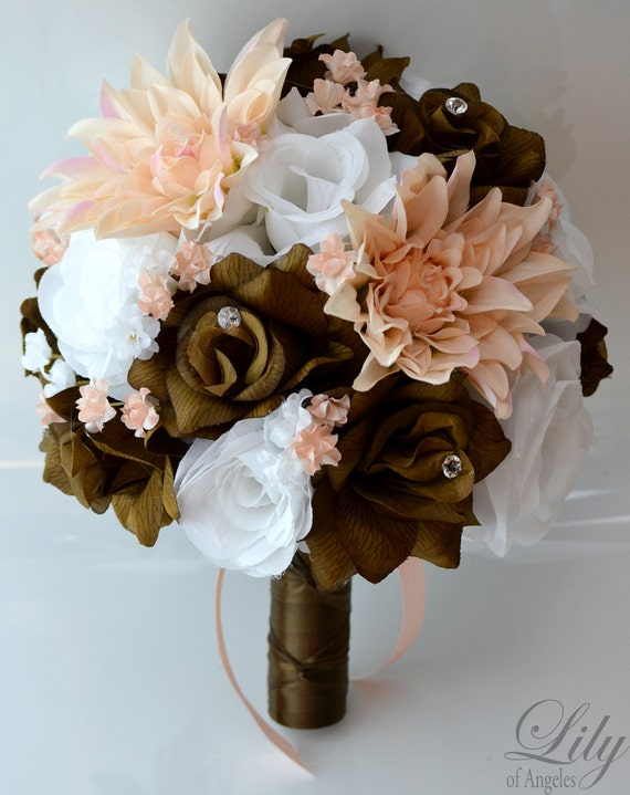 Wedding Bouquet Packages Silk : Wedding bridal bouquet piece package bride silk flowers