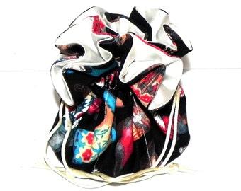 Drawstring Jewelry Bag Pouch - Jewelry organizer - Cowboy boots travel bag