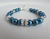 Teal Pearl Bracelet, Blue Pearl Bracelet, Pearl Bracelet, Bridesmaid Bracelet, Bridesmaid Gifts, UK Seller, Girl Gift, Bridal Bracelet, BFF