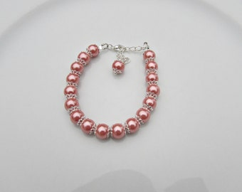 Pearl Bracelet, Flower Girl Gift, Bridesmaid Gift, UK Seller, Coral Pearl Jewelry, Girl Gifts, Flower Girl Bracelet, Bridal Shower Gifts