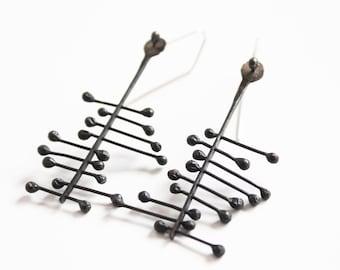 Black silver jewellery, Handmade oxidised sterling silver earring, Silver earring, Black silver earrings, Organic silver earrings, Kinematic