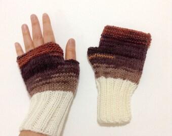 Autumn Trend / Hand Knit Fingerless Gloves / Medium size fits most. / Cream . Brown / Winter Fashion/ Arm Warmes / Handmade #08