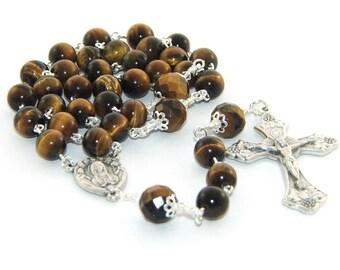 Tigers Eye Rosary, 3 Decade Catholic Rosary Prayer Beads