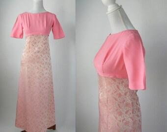 Vintage Gown, Vintage Pink Gown, Vintage Pink Dress, 1960s Formal Gown, 1960s Pink Dress, Pink Paisley Gown, Pink Wedding Gown, 60s Brocade